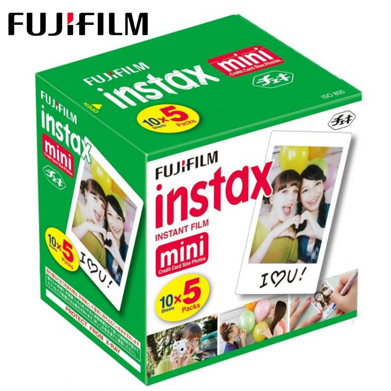 Original Fuji Fujifilm Instax Mini Filme Borda Branca Papéis Fotográficos Para Mini 8 9 7 s 90 25 55 Compartilhar câmera Instantânea SP-1 50 folhas