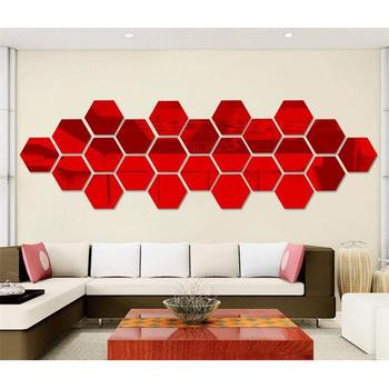 7pcs/lot 3D Hexagon Acrylic Mirror Wall Stickers For Living Room Bedroom House Decoration DIY Art Vinyl Wall Decor Sticker Decal 8