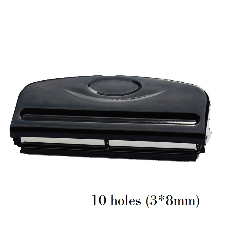 10 Holes Binding Strip Hole Punch, 3*8mm Rectangle Hole, 12 Sheets Capacity 2 hole heavy duty punch 6mm holes 80mm hole distance 60 sheets capacity less force hole puncher built in paper guide