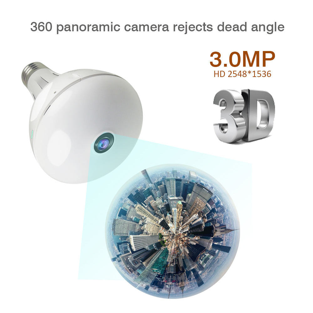 HD 1080P 3MP 360 Security wifi Camera Lamp Panoramic Bulb IP CCTV Video Surveillance Fisheye HD