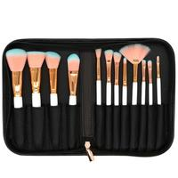 Hot 12 Pcs PU Bag Makeup Brush Real Wool Multicolor Lip Eyeshadow Blending Set Brushes For