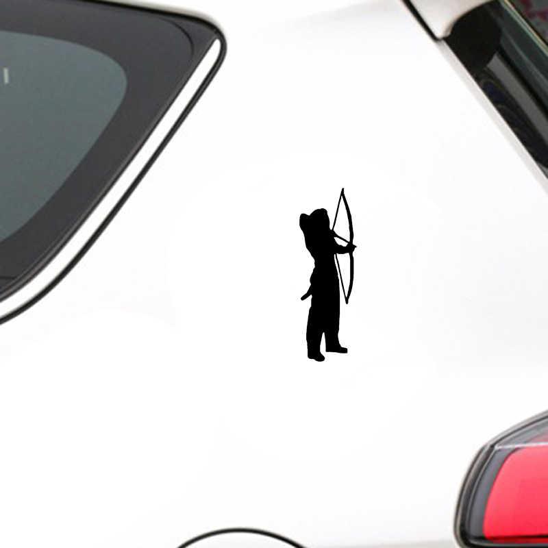 QYPF 5.6*15.5 سنتيمتر أروع القوس هنتر ديكور سيارة الوفير خيال الفينيل الجرافيك أسود/الفضة C16-1601
