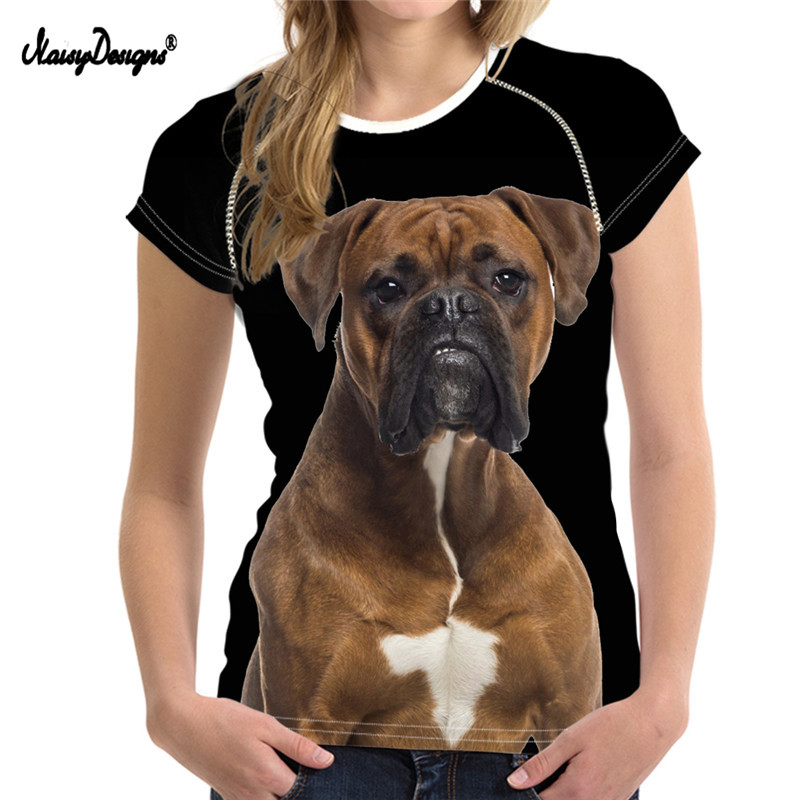 NoisyDesigns Boxer Dog Design Women Short Sleeve T Shirts Summer Breathable Female Tops Tee Shirts Girls