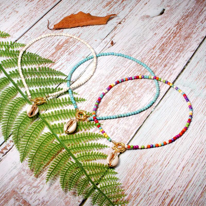 MOON GIRL раковина Каури колье ожерелье из ярких бусин для женщин модные богемные бохо шик Bib Collier Femme Прямая доставка