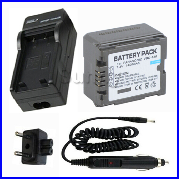 Battery + Charger for <font><b>Panasonic</b></font> VW-VBG130 and HDC-HS100, HDC-HS250,HDC-HS300,HDC-HS700,<font><b>SDR</b></font> H40,<font><b>SDR</b></font> H60,<font><b>SDR</b></font> <font><b>H80</b></font>,<font><b>SDR</b></font> H90 Camcorder image