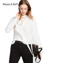 Здесь можно купить  Weyes & Kelf Solid White/black Casual Shirt Blouse Female Tops Women Elegant Fashion V-neck Lace Up Full Sleeves Tops For Women