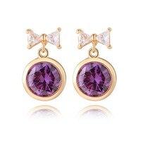 Belleza dulce bowknot ronda cristal púrpura cuelgan pendientes de oro amarillo lleno niñas regalo de Navidad