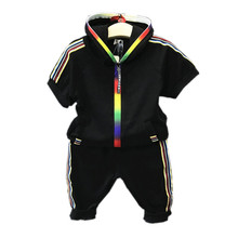 5c5b5acbdd542f 2018 New Fashion Zomer Kids Jongens Kleding Sportkleding Korte Mouw  Kleurrijke Rits Hooded Kleding Voor Meisjes Kinderen Outfit .