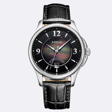 2017 New Top Sale Luxury Brand Skeleton Mechan Black White Leather Strap Round Business Waterresistant Automatic Mans Watch