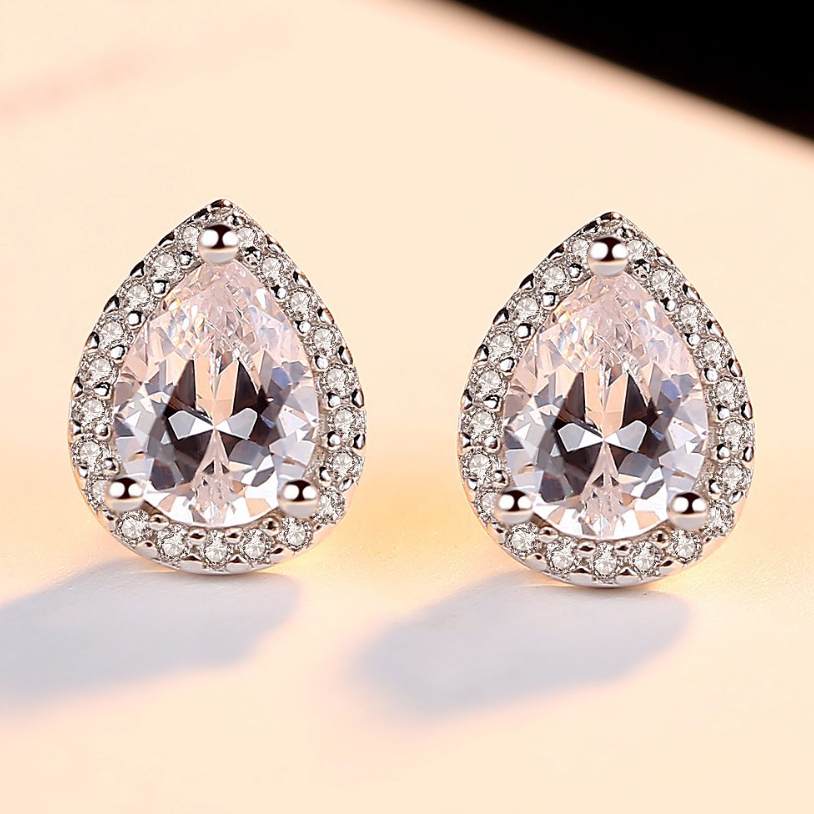 Boho Female Crystal AAA Zircon Stud Earrings Luxury Small Silver Color Double Earrings For Women Vintage Party Wedding Jewelry