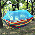 220*150cm 1 or 2 person Portable Hammock Folded Into The Pouch Mosquito Net Hammock Hanging Bed Travel Kit Camping Hiking DC12
