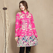 2015 winter original folk style blouses, linen collar in the long section of Chinese female female cotton coat