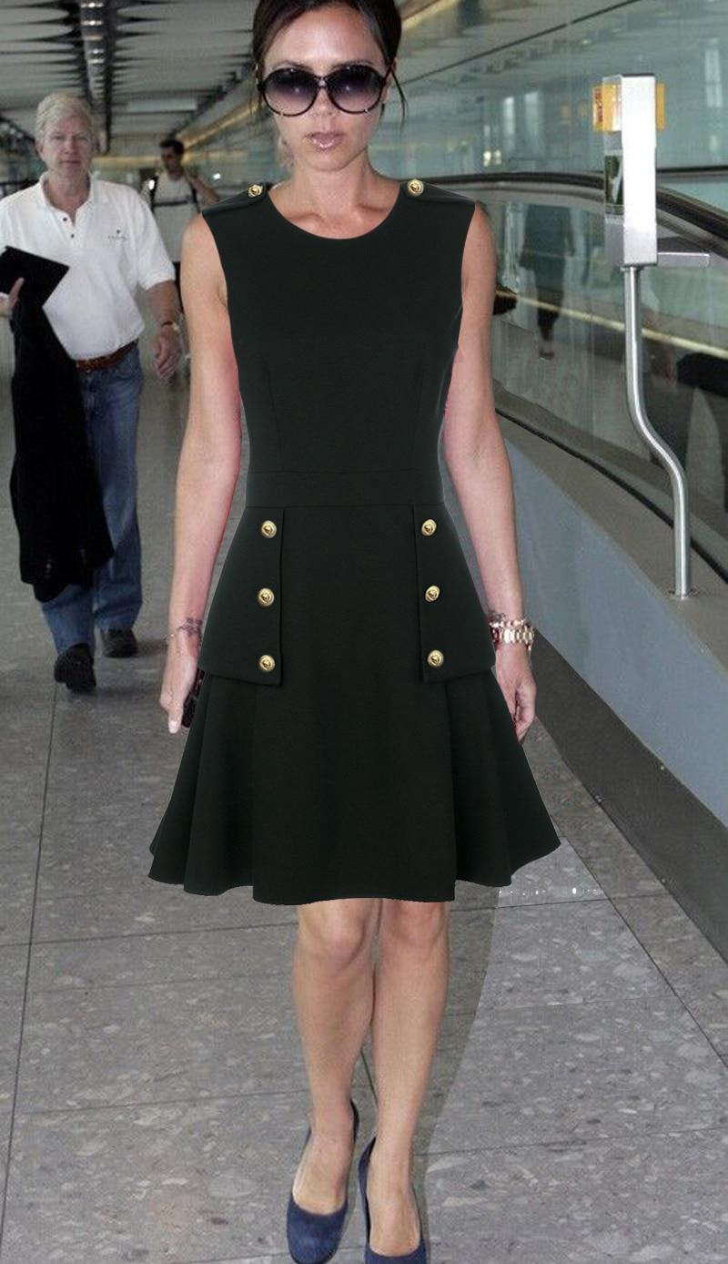 Hot sale Victoria Beckham solid dress fashion Button designer sleeveless A Line dresses C3253