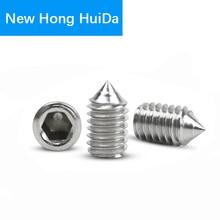 цена на Hex Head Socket Cap Set Grub Screw Hexagon Metric Thread Headless Allen Cone Point Head Screw Bolt 304 Stainless Steel M3