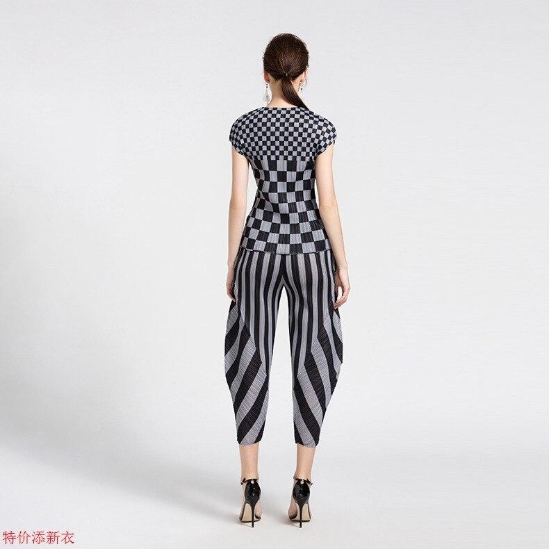 Pantalon Lâche De Stock Élégant Vêtements Mode Livraison manches Plissée Haroun T Miyake shirt Plaid Lshort Gratuite Mis En Multi vfqfOA7w