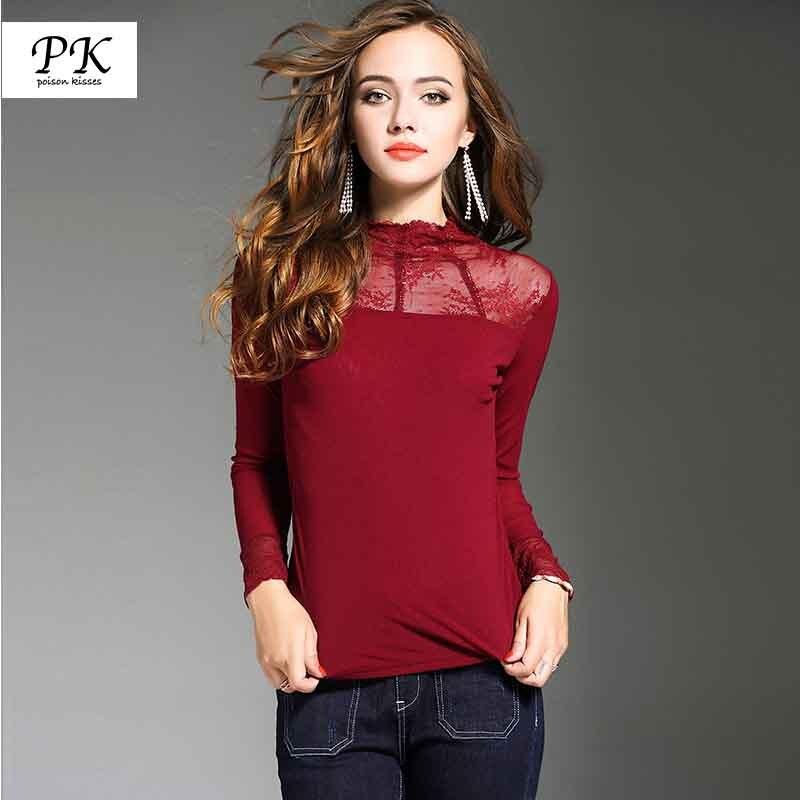 PK Long Sleeve Sexy Lace Blouse Shirt Women Summer Spring Autumn Blusa Feminina Femme Elegant Chemise Camisas Mujer PK042