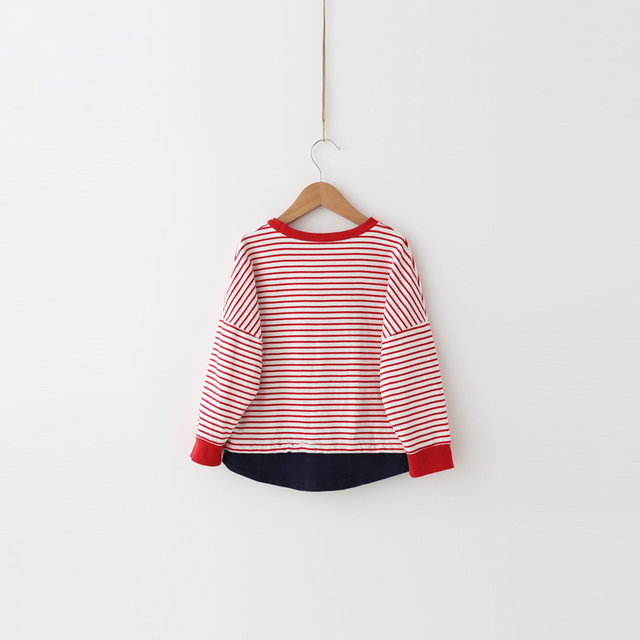[self] 2017 casual sweater striped red bayberry Cotton Terry Quality Institute wind