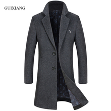 New arrival style men boutique long woolen overcoat business casaul single button embroidery men solid trench jacket size M-3XL
