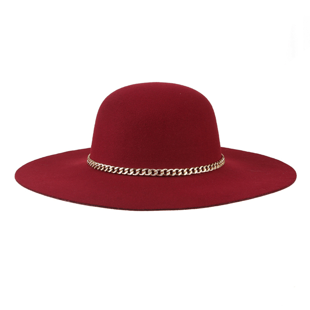 New  Winter Train Fedora Hats Wine Red Dome Fedoras for Women Solid Color Wide Brim Wool Hat  [HUL180]