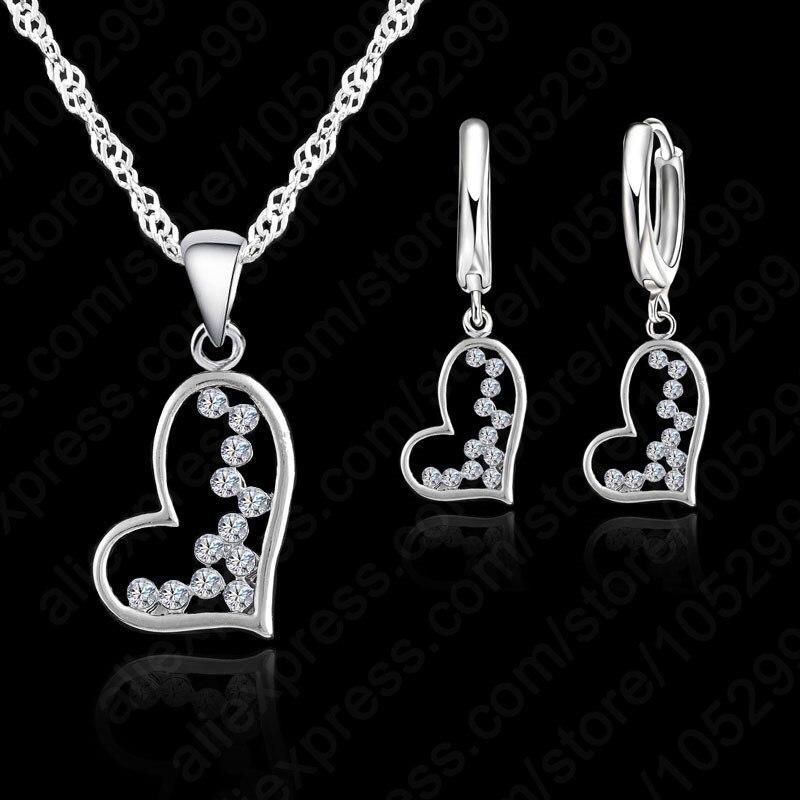 752fd1733904 JEXXI más nueva venta caliente de cristal austriaco joyería de las mujeres  corazón amor colgante collar + pendientes conjunto de joyas de plata de ley  925