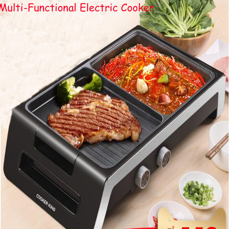 лучшая цена Multi-Functional Electric Cooker Home Hot Pot & Roasted Meat All In one Machine Smoke-Free&Non-Stick Pan Electric Cooker CK5001
