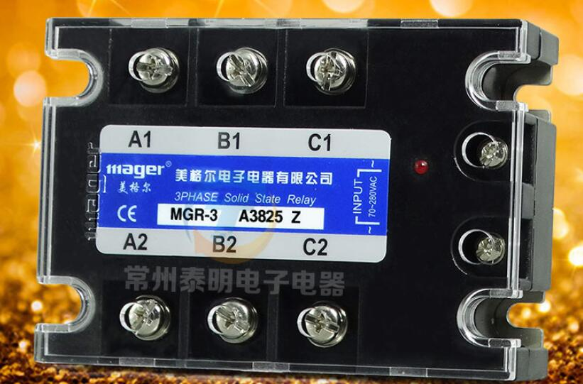 Three-phase solid state relay MGR-3 SSR A3825Z AC AC control AC 380VAC 25A genuine three phase solid state relay mgr 3 032 3880z dc ac dc control ac 80a