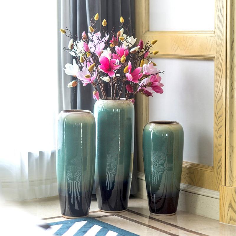 Ceramic Blue Flowers Vase Home Decor