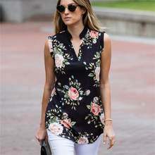 Fashion Vintage Floral Print Blouse Shirt 2019 Summer Sleeveless Chiffon Blouse Sexy V Neck Women Shirts Casual Loose Chemise(China)