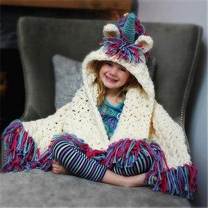 Image 1 - Winter Unicorn Scarf Children Crochet Cotton Warm Shawl Scarf Set Boys Girls Fashion Cartoon Stole Pashmina Novelty Hat