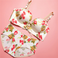 MUKATU Mix Color Wire Free One Piece Seamless Bra With Lace Butterfly Backless Bra Panty Set