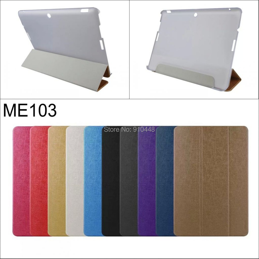 Fashion 3 Folding Folio Ultra Slim Silk PU Leather stand Cover transparent back Case for Asus MeMO Pad 10 ME103 ME103C 10.1