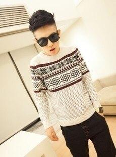 Осень и зима национальная тенденция орнамент пуловеры свитер горошек свитер верхней одежды мужской тонкий
