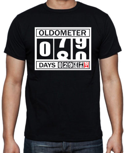 T Shirt Anime 80th Birthday Oldometer Funny Present Gift Party Dad Grandfather Black New Brand Casual
