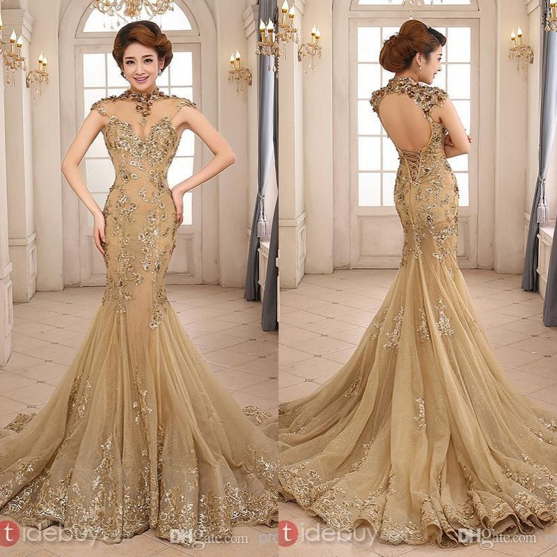 2015 New Arrival Luxury Gold Mermaid High Neck Backless Chapel Train Sequins Lace Appliqued Tulle Evening Dresses