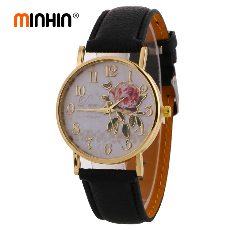 MINHIN New Arrival Rose Pattern Watches For Women Hot Selling PU Leather Wrist Watches Gift Fashion Casual Students Watch