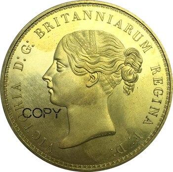 Monedas del Reino Unido 5 libras 1839 Victoria Una y el león Moneda de Oro plana de latón copia de monedas
