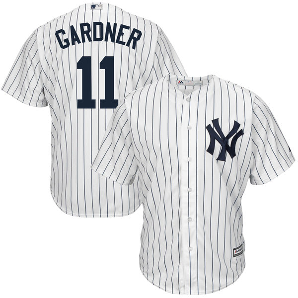 MLB Mens New York Yankees Brett Gardner Majestic White Home Cool Base Player Jersey ...