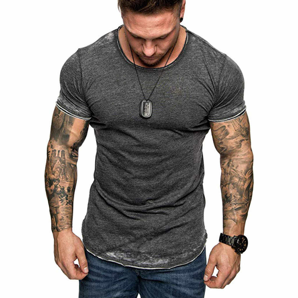Summer Mens O Neck Slim FIt Short Male Skinny Muscle Tee Tops Sleeve T-Shirt