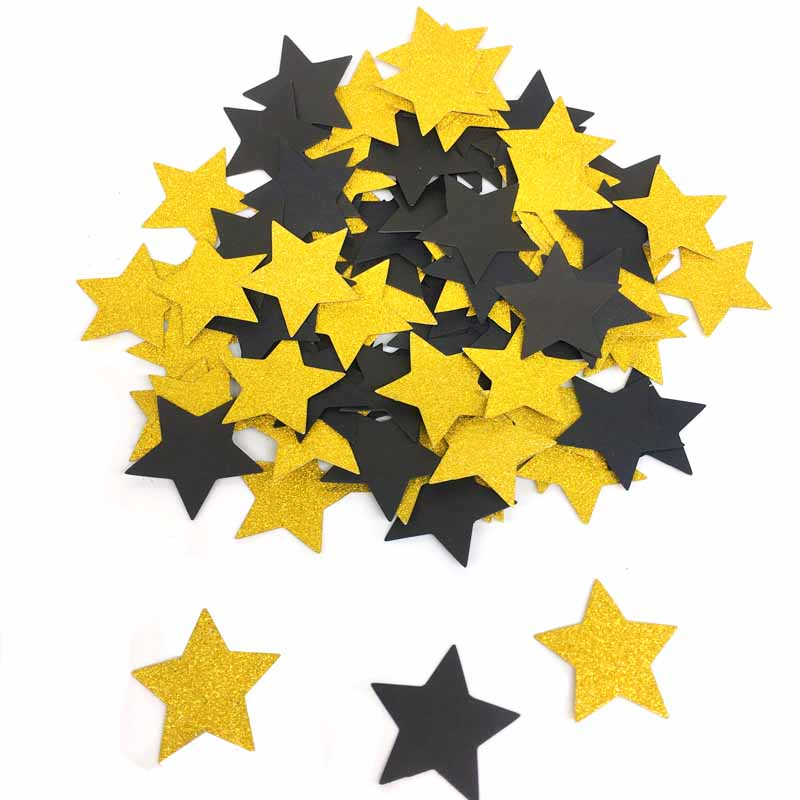 100pcs Glitter Black Gold Paper Confetti For Wedding Party Table Decoration DIY Graduation Wedding Throwing Party Supplies in Banners Streamers Confetti from Home Garden