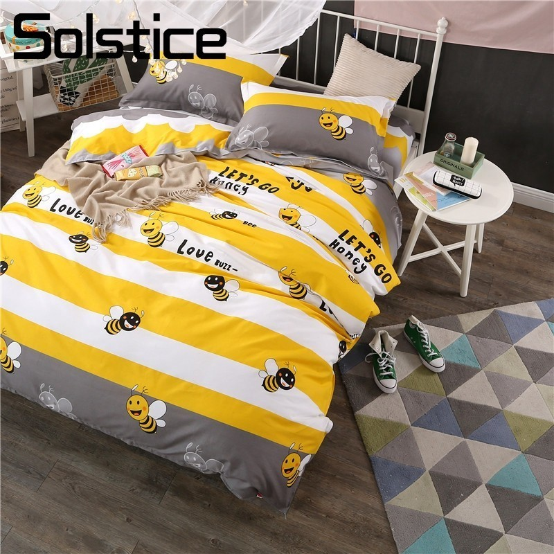 Solstice Cartoon Bee Pattern Geometric Stripe Kid Child Bedding Sets Cotton Twin Full Queen King Size Duvet Cover Bed Flat Sheet