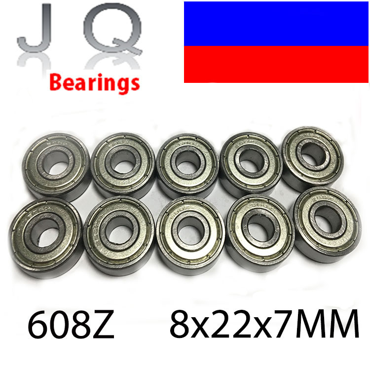 JQ Bearings 10PCS 608 608ZZ Ball Bearing 8*22*7 mm Deep Groove Ball bearing Free Shipping 2017 hot mini bearing 10pcs mr74zz l 740zz bearings p5 4 7 2 5 deep groove ball bearings free shipping