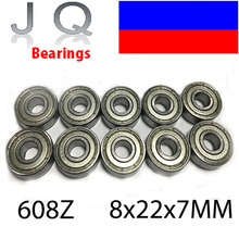 JQ Bearings 10PCS 608 608ZZ Ball Bearing 8*22*7 mm Deep Groove Ball bearing Free Shipping