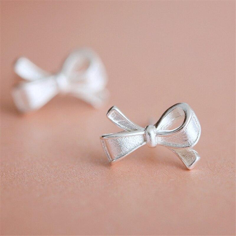 Handmade Bowknot Stud Earring 925 Sterling Silver Earrings For Women Gift Sterling-silver-jewelry Pendientes Mujer