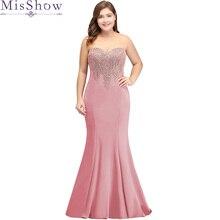 Vestido de noche largo de sirena de talla grande, elegante, con Apliques de encaje, color rosa, 2019