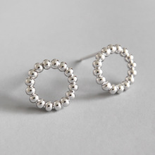 HFYK 2019 925 Sterling Silver Earrings Round Circle Stud Small Jewelry Oorbellen Brincos