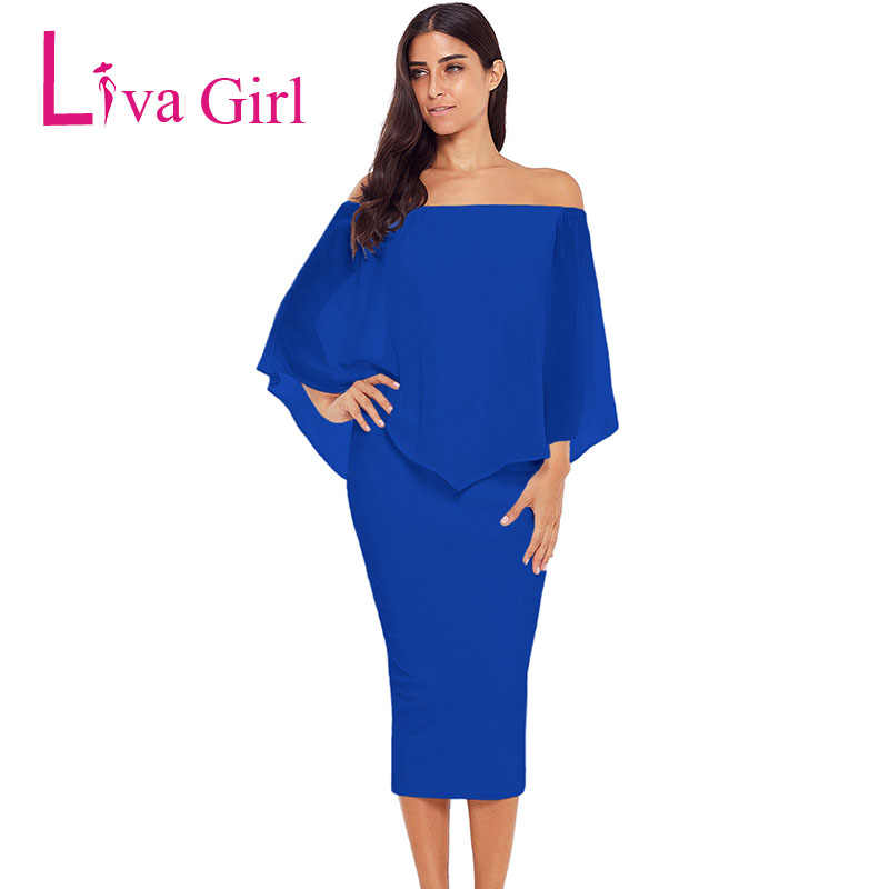 LIVA GIRL 2019 Women Plus Size Layered Off Shoulder Femme Sexy Party Dress  Autumn Large Big 71dbbe0c91f2