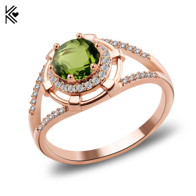Female Peridot Round Ring Fashion Gold/Silver & Rose Gold Filled Jewelry Vintage Wedding Rings For Women Birthday Stone Gifts