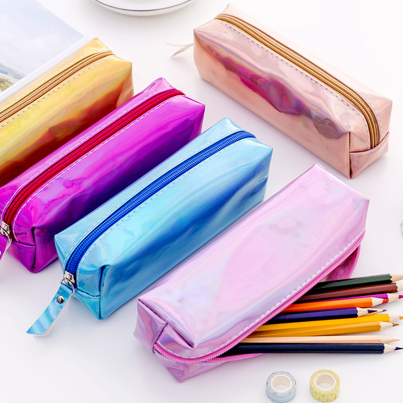 New Fashion Soft PU Laser Pencils Bags Kawaii Rose Gold Pencil Case Shining Pen Bag Pouch For Office Supplies School Stationery