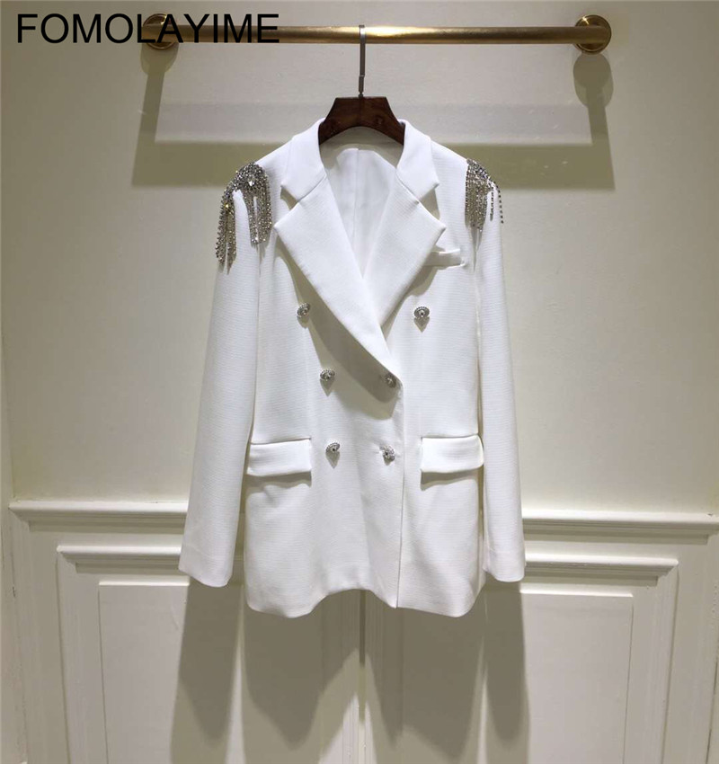 FOMOLAYIME Spring Blazers 2019 New Arrival Women Fashion Double Breasted Blazer Coats