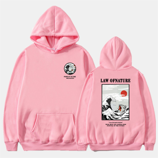 Funny Cat Wave Printed Fleece Hoodies Winter Japan Style Hip Hop Casual Sweatshirts KODAK Street wear 2